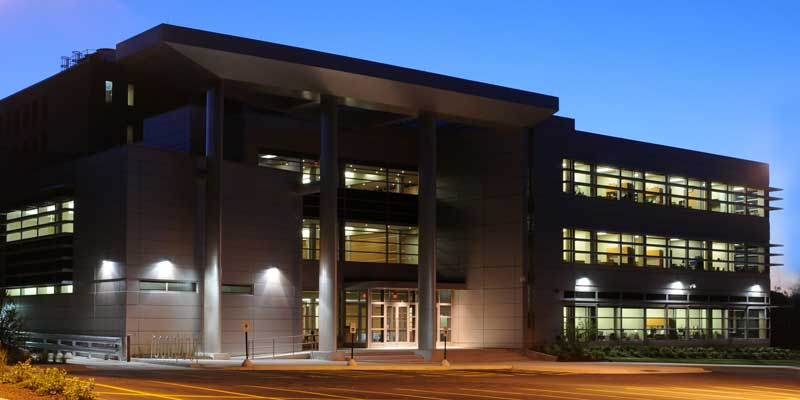 Exterior view of the Crawford Library of the Health Sciences, Rockford.