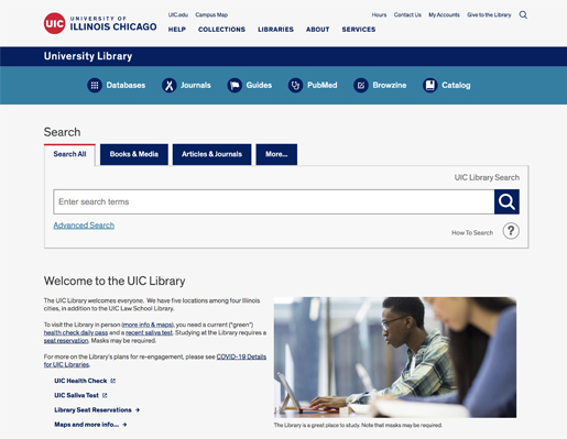 Homepage for the new UIC Library website