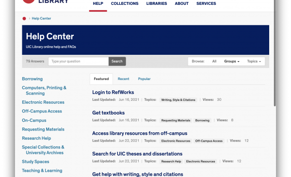 Screenshot of the Library's new website Help Center