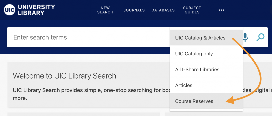 As indicated in this screenshot, users can select Course Reserves via a dropdown menu.