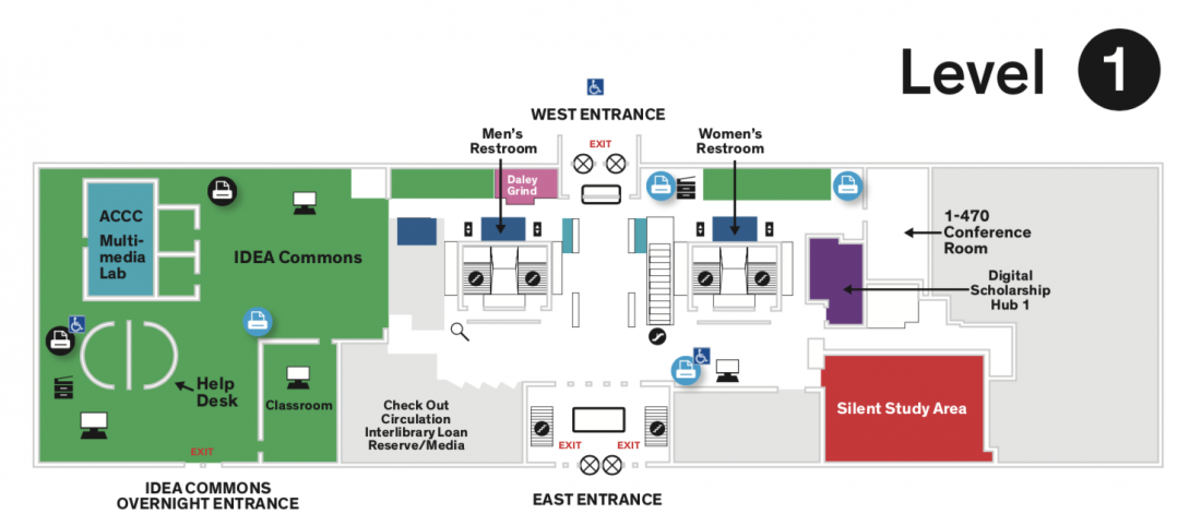 Main map of the Daley Library