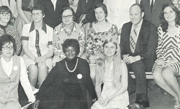 Photo from a Library of the Health Sciences newsletter, 1974. Beverly Allen (first row, center) with colleagues.