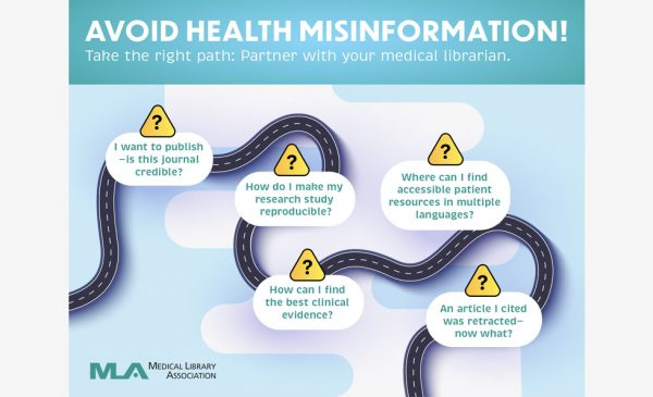 Winding road with text encouraging people to consult with medical librarians to avoid health misinformation.